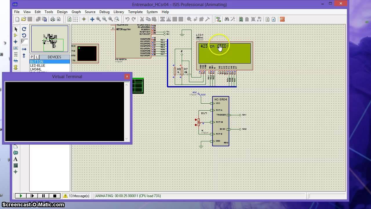 Hc Sr04 With Proteus By Jaime Mutis 8051 Microcontroller Ultrasonic Rangefinder Using Circuit Diagram