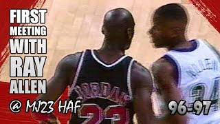 Michael Jordan vs Ray Allen Highlights Bulls vs Bucks (1996.12.03)-Rookie Ray Got SCHOOLED!