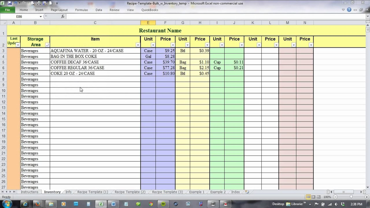 Restaurant Kitchen Management Forms using excel for recipe costing and inventory linking - youtube