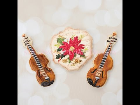 Antique Violins and Poinsettia Musical Note Sheet Cookies