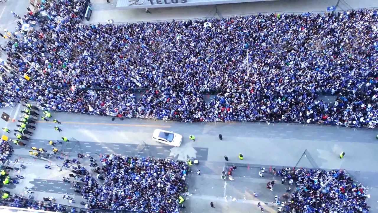 12th Floor View Of Maple Leafs Square Singing O Canada