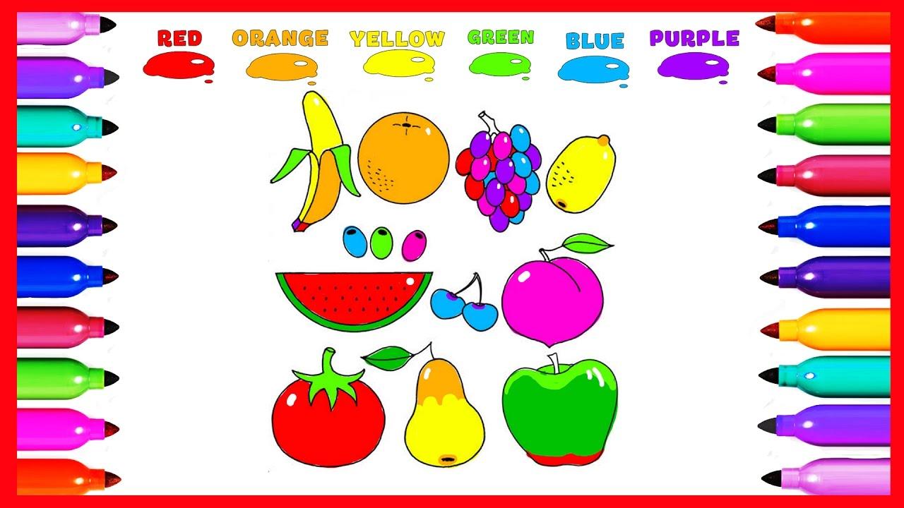 draw coloring fruit banana apple orange lemon colored for kids