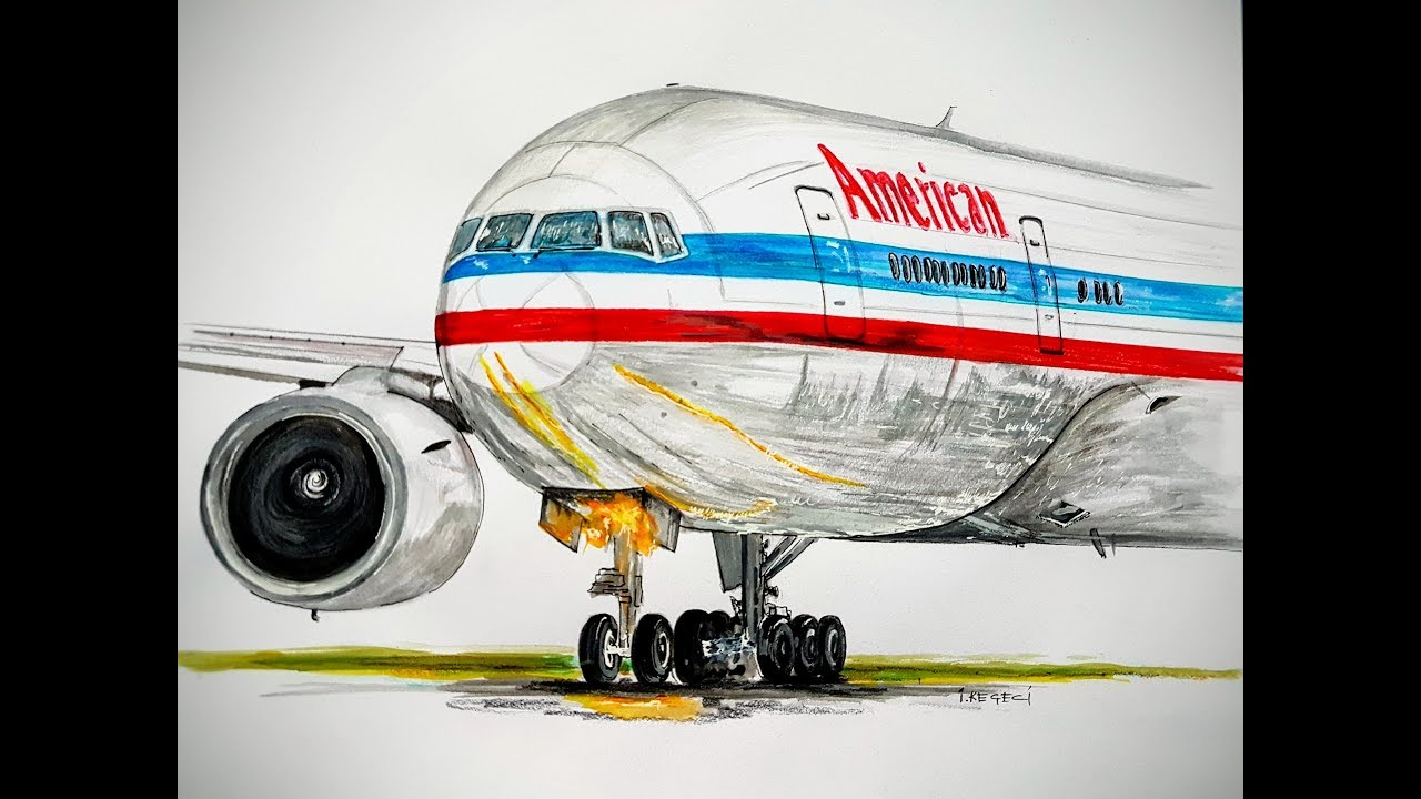 Speed Drawing American Airlines Boeing 777 200 Er Youtube