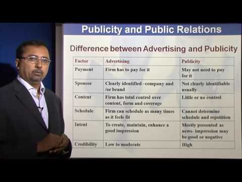 Marketing Management Lectures - Difference between Advertising and Publicity