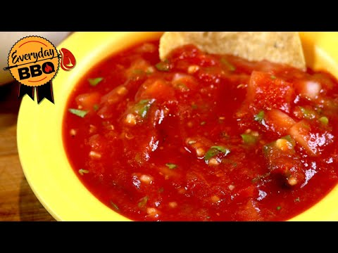 EASY Salsa Recipe - How To Make Homemade Restaurant Salsa In 5 Minutes!  Fast Easy Delicious Salsa