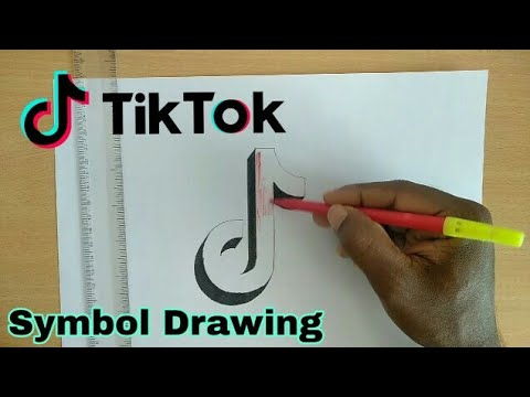 Tik tok symbol drawing | Very easy!! | How to draw 3d tik tok symbol on paper step by step
