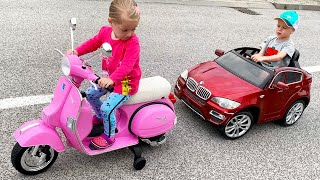 Little Girl Elis Ride On NEW Motorbike Vespa Piaggio PX 150 with Thomas Outdoor Activity
