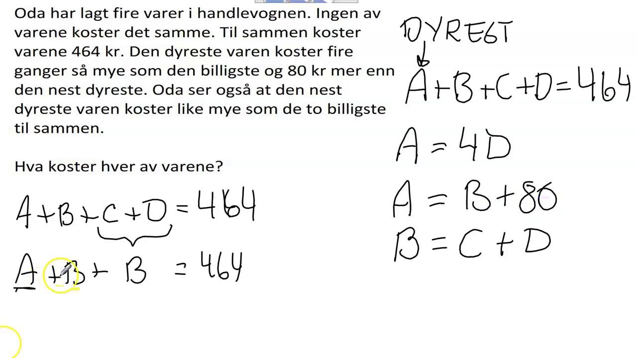 Løsning av ligning i tekstoppgave