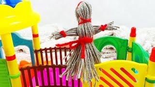 Простая кукла из ниток своими руками. Делаем куклу с ребенком. Чучело Масленицы для игр и украшения(Сделать народную древнерусскую куклу Масленицу из ниток очень просто. Подготовьте 2 мотка ниток разного..., 2016-03-13T00:20:13.000Z)
