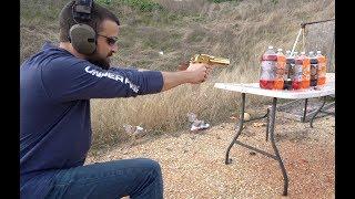 Gold Desert Eagle .50 Cal vs 2 Liters