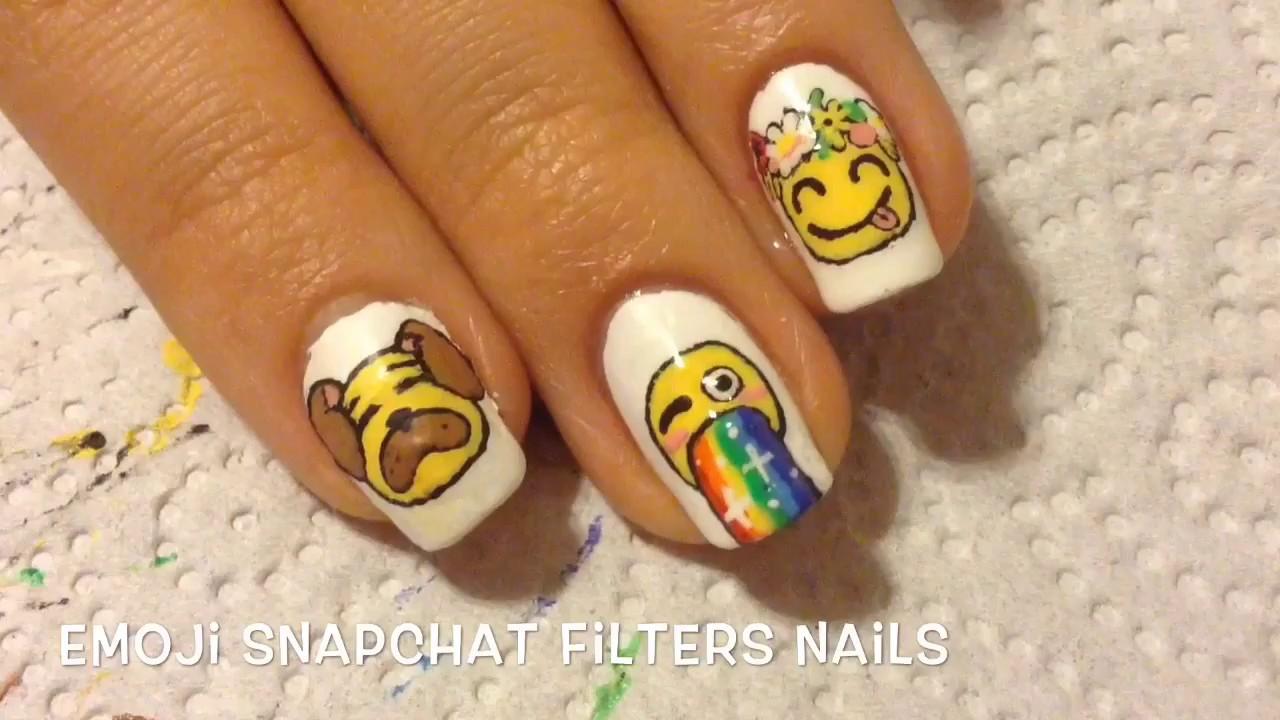 Emojis with Snapchat Filters\' Nail Art - YouTube
