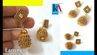 How to make Simple Earrings with Beads at home || Earrings with Stud || kalpana ambati