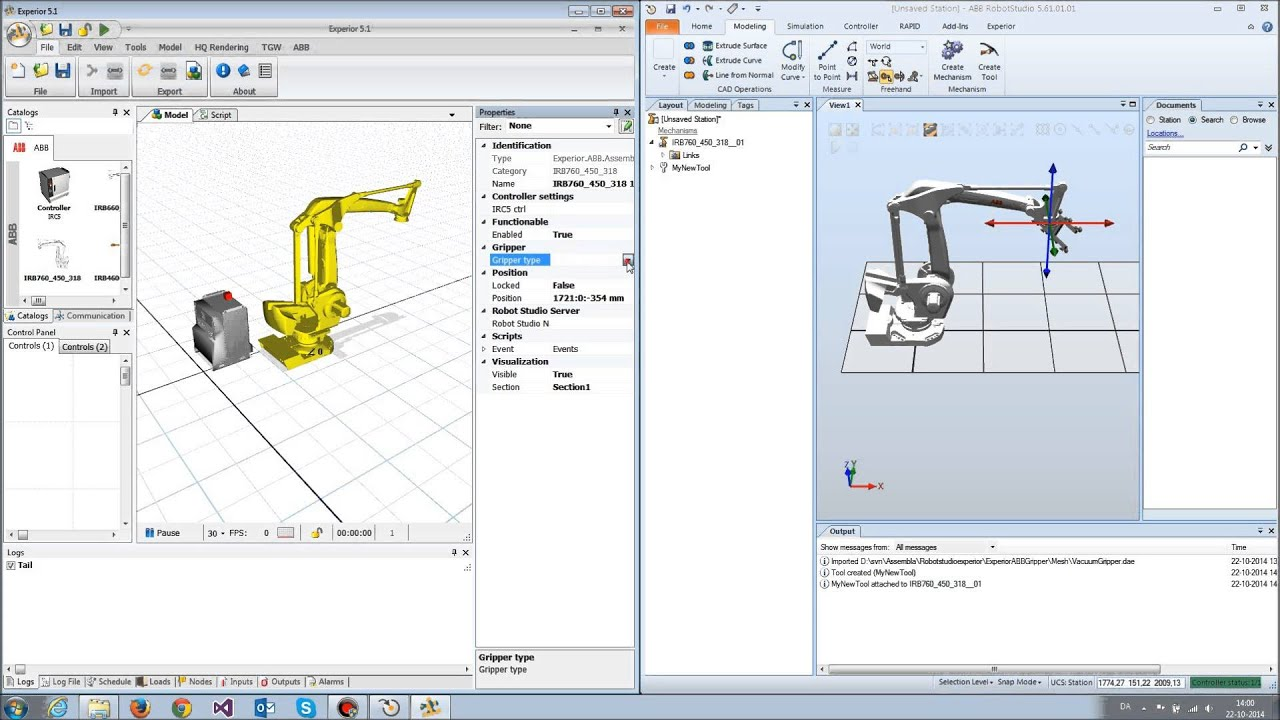 Basic Experior And Robot Studio Gripper Setup