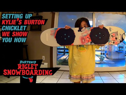 Kylie's New Burton Chicklet. How To Setup Your Kids Snowboard