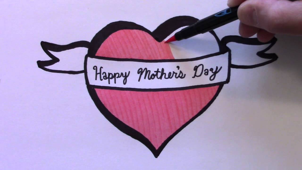 how to draw a heart with ribbon for mother s day youtube