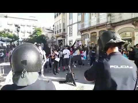 Concentración antifascista ante el mitin de Abascal en Lugo