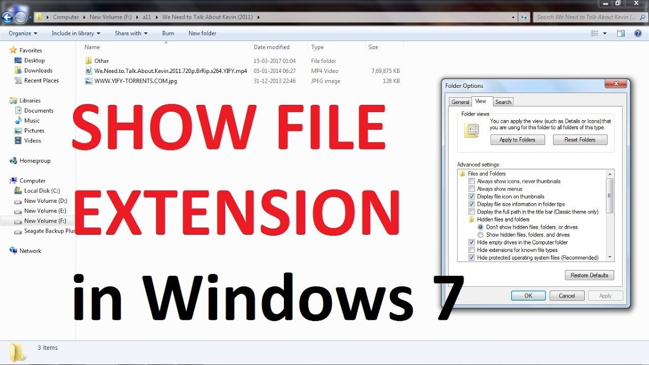 Setting extensions in windows 7