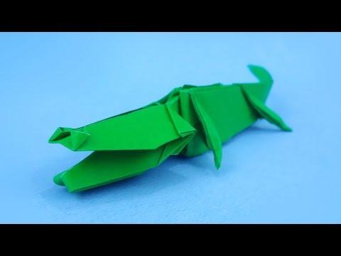 Origami Crocodile / Alligator   How to make a Paper Crocodile! - Instructions in English (BR)
