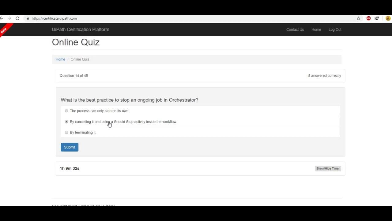 Uipath Quiz-2-RPA Developer Advanced Certification