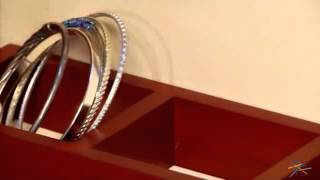 Wall Mounted Wooden Jewelry Armoire And Mirror With Led Lighting - Cherry - Product Review Video