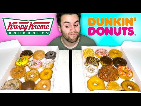 DUNKIN' DONUTS vs. KRISPY KREME - Fast Food Doughnuts Taste Test!