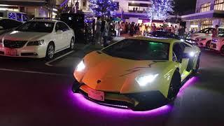【爆音加速!!】ド派手な電飾ランボルギーニ集団のイベント搬出!!/Morohoshi Custom Lamborghini sound!!