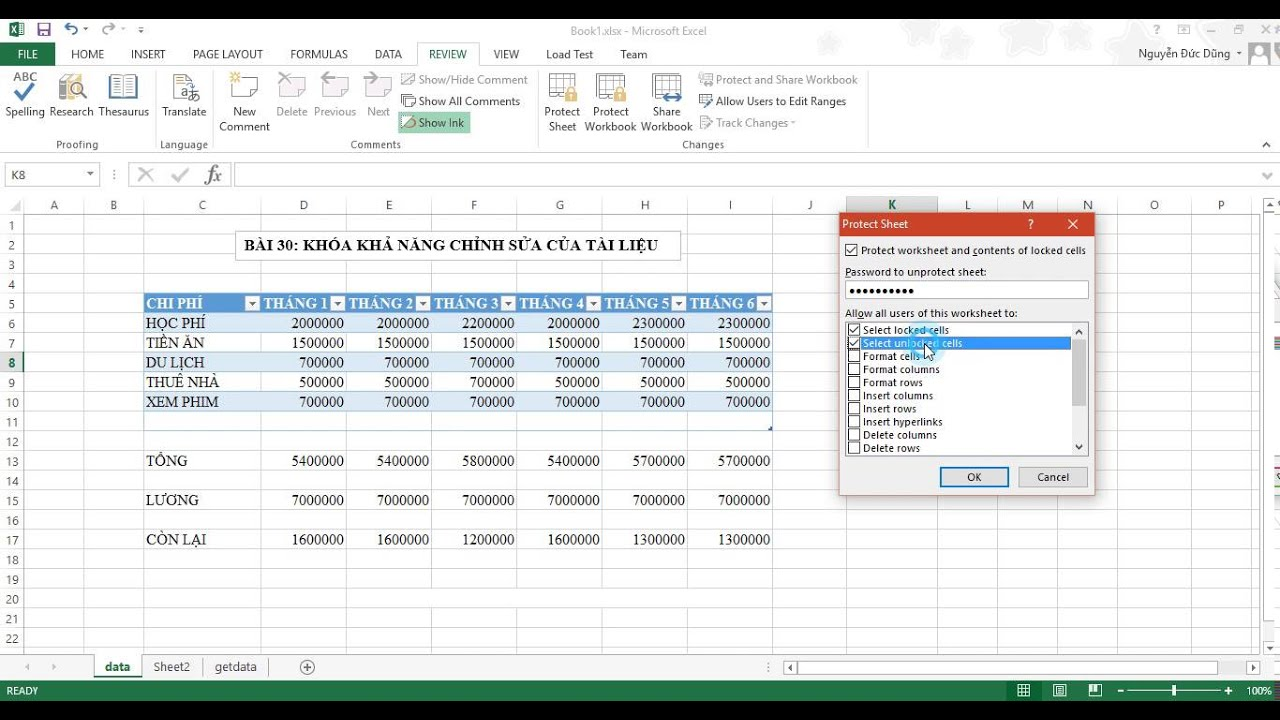 [Excel 2013] Bài 30: Khóa khả năng chỉnh sửa nội dung trong Sheet trong Excel