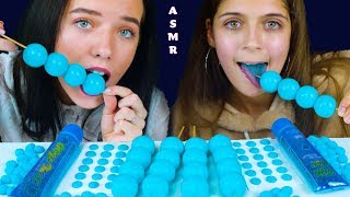 ASMR BLUE PLANET GUMMY, SOUR CANDY GEL, CHEWY NERDS, CANDY BUTTONS EATING MUKBANG