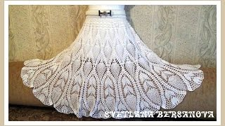 Вяжем вместе - юбка с ананасами. Часть 3. knitted crochet skirt