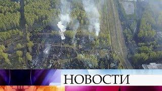В Удмуртии почти сутки продолжается пожар на бывшем складе боеприпасов в Пугачеве.