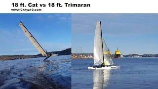 18 ft cat vs 18 ft tri Halloween sailing
