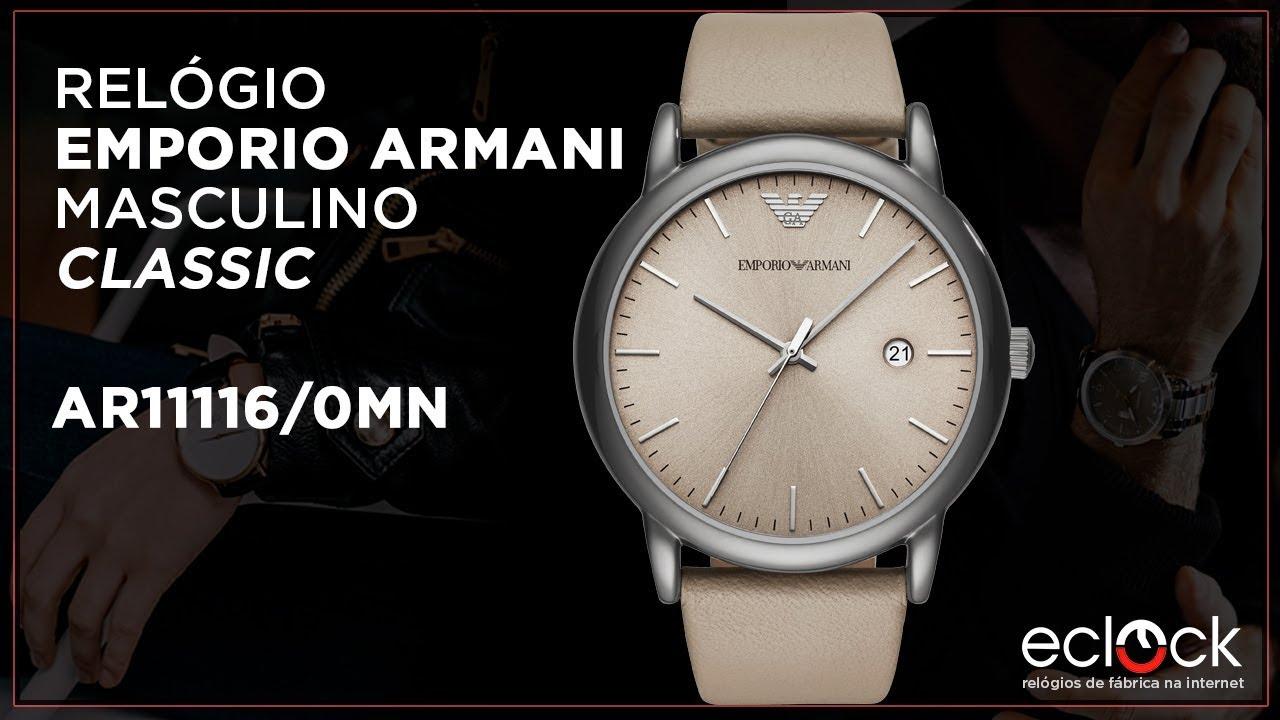 dc6f57e40d1 Relógio Emporio Armani Masculino Classic AR11116 0MN - Eclock - YouTube