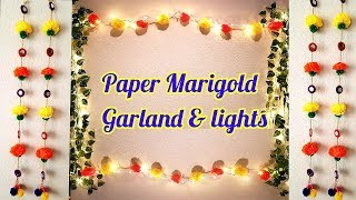 Marigold Paper flower & mirror garland | Diwali home decor