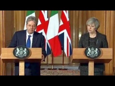 Breaking News:  Theresa May and Italian Premier to Discuss Bilateral Ties. News Conference. Feb 9.