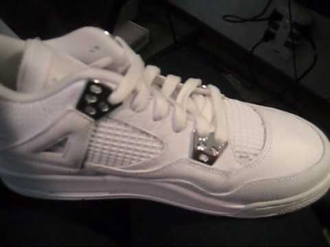 8cd9d9507647 Air Jordan 4 (IV) Retro Pure Money   (White Metallic Silver) - YouTube