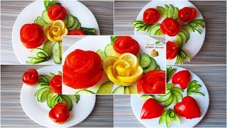 Beautiful salad decoration tutorial. 5 easy ideas food art for beginners at home