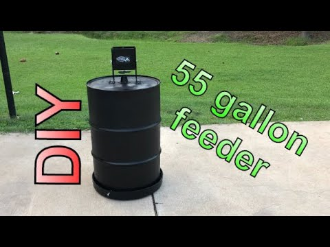DIY 55 gallon drum feeder - YouTube