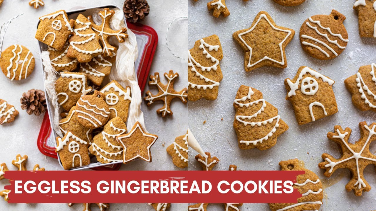 Eggless Gingerbread Cookies No Eggs No Molasses Easy Christmas Cookies Recipe With Icing Youtube