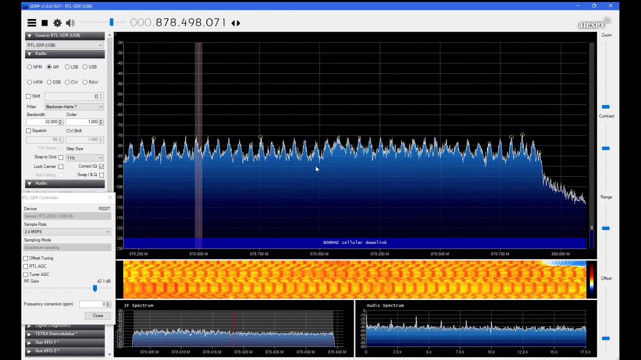 Example of 700, 850, 900MHZ GSM, 3G, LTE Cellular bands spectrum SDR#