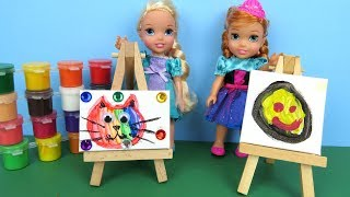 Art CLASS ! Elsa and Anna toddlers at School - Barbie is teacher - Paintings - Colors