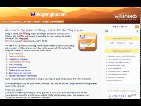 WBlog BlogEngine Net Hosting