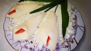 Салат С ВЕТЧИНОЙ. Салат с ветчиной и сыром. Salad With HAM. Salad with ham and cheese.