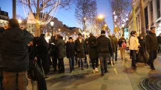 France Paris Champs Elysee walking night 01/01/2015