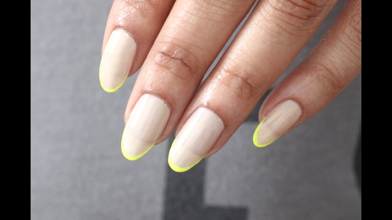 HOW TO | NEON & NUDE FRENCH NAILS - YouTube
