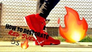 How to Clean or Re-Dye Jordan 5s Red Suede  🔥