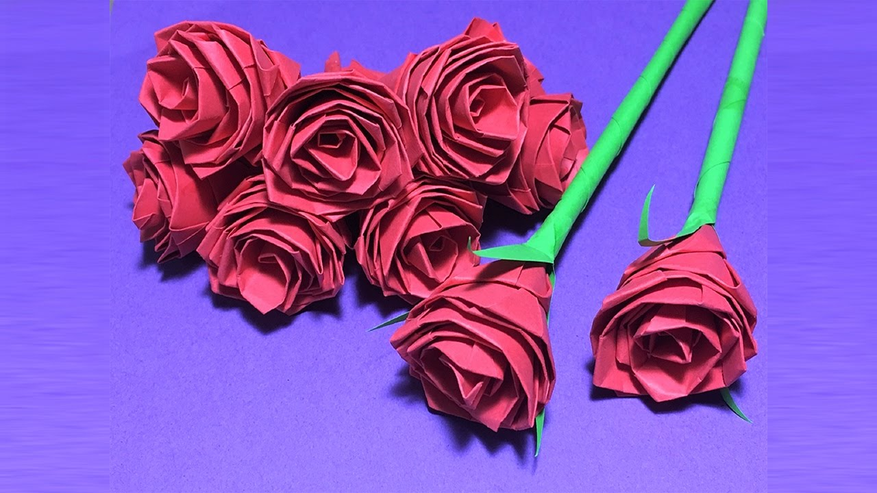 How to make beautiful paper rose origami easypaper rosecraft paper how to make beautiful paper rose origami easypaper rosecraft paper flowers roses diy part 1 youtube mightylinksfo