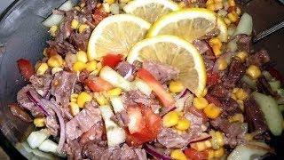Овощной салат с отварной говядиной