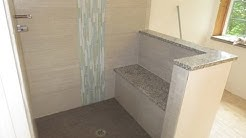 How to install a vertical mosaic glass tile border with large format tile
