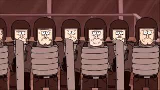Regular Show - Mordecai and Rigby Tries to Stop Muscle Man/Muscle Man Rages Out, Then Fight