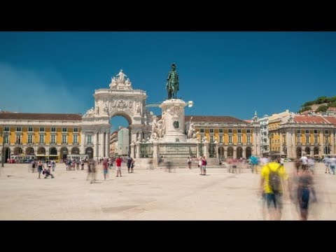 Lisbon Commercial Square in Portugal | Stock Footage - Videohive